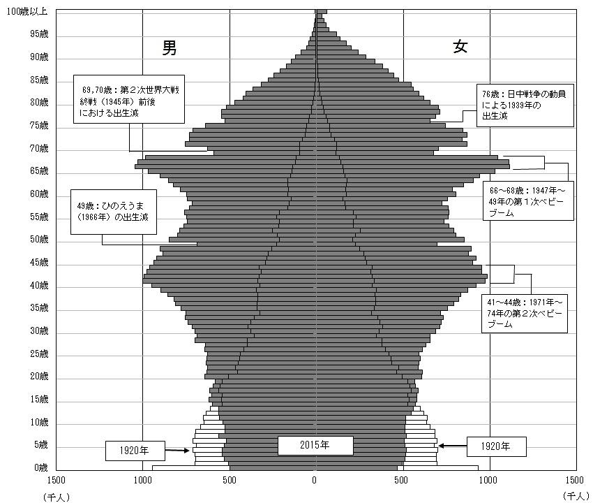 人口ピラミッドの図