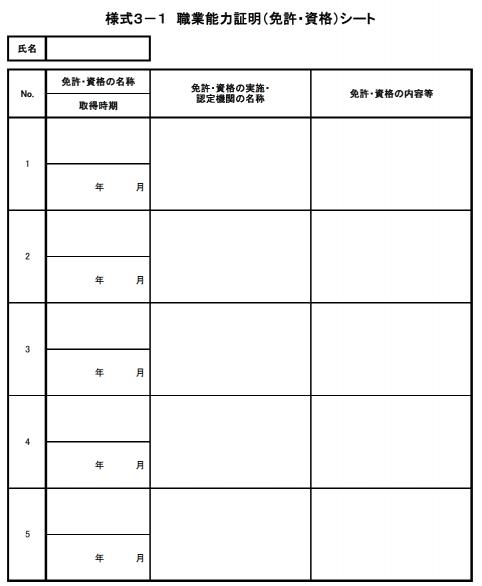 ジョブカード 様式3-1